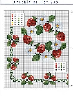 Circle of strawberries and flowers cross stitch border pattern Cross Stitch Fruit, Cross Stitch Kitchen, Just Cross Stitch, Cross Stitch Borders, Cross Stitch Flowers, Cross Stitch Kits, Cross Stitch Charts, Cross Stitch Designs, Cross Stitching
