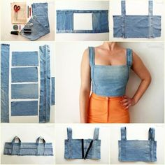 DIY Sexy Crop Top from Old Jeans -more ideas(icamama) reciclar Ways and Ideas to Refashion T-shirt into Chic Top Thinking of altering the denim crop top pattern to make it a military-style crop, but all in all this is such a cute pattern t Denim Crop Top, Crop Tops, Cropped Jeans, Fashion Sewing, Denim Fashion, Work Fashion, Unique Fashion, Trendy Fashion, Fashion Ideas