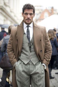 Men's Camel Overcoat, Grey Herringbone Wool Waistcoat, White Dress Shirt, Grey Herringbone Wool Dress Pants