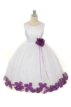 MB_262PUR - Flower Girl Dress Style 262 - BUILD YOUR OWN PETAL DRESS - Purple - Flower Girl Dress For Less