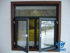 Black color powder coating aluminium profile for casement windows and doors.