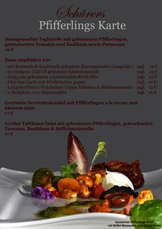 Pfifferlings Karte im Schürers Restaurant Tafelhaus in Backnang ( bei Stuttgart )