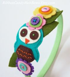 Multicolored Felt Owl Headband with Felt by CandyShoppeCuties