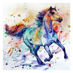 Home Decor Running Horse Colorful Art Print on Canvas Porch Watercolor Painting Watercolor Horse, Watercolor Animals, Watercolor Paintings, Tattoo Watercolor, Watercolour, Painted Horses, Horse Drawings, Animal Drawings, Cross Paintings