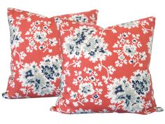Designer Decorative Pillow Cover-Duralee-CoralNavy by KLineDeco