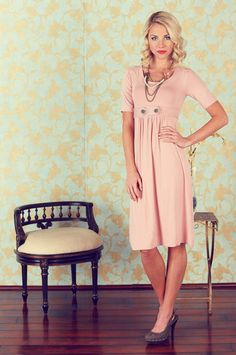 Modest Dress in Pink $49.99 http://www.jenclothing.com/mi-9001-bailey-pink.html