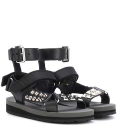 PRADA | Studded leather sandals #Shoes #Sandals #Flat  #PRADA