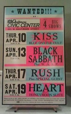 rush concert posters | Baltimore Civic Center Globe Concert Poster Kiss Black Sabbath Rush ...