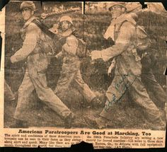 Old News Clip regarding the 115 mile march from Toccoa, GA to Atlanta in three days. Burr Smith is on the right.