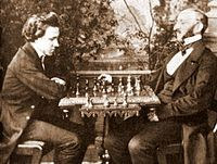Paul Morphy (left) dominated all opposition in his brief chess career (1857–58).