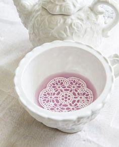 24 Edible White Lace Rosettes Doilies 3 inch por SweetDejaVu
