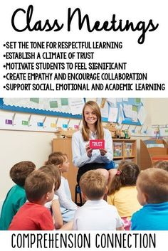 Class meetings do not need to be long to be effective. In this post, ideas are shared for building character in the classroom. Check it out for more information and a FREE RESOURCE.#communitybuilding #socialskills #classroomcommunity