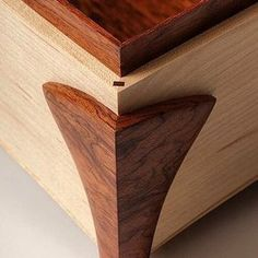 The corner of s beautiful Maple & Bubinga Jewelry Box by Tony Clark #jewelrybox #tonyclark #woodwork #maple