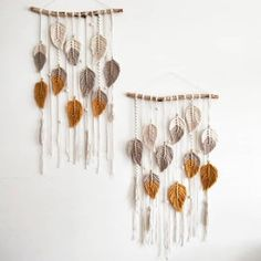 Falling Leaves Macrame Wall Hanging The Knot – Macrame Macrame Wall Hanging Patterns, Yarn Wall Hanging, Macrame Art, Macrame Projects, The Knot, White Throw Blanket, Falling Leaves, Rustic Wooden Table, Autumn Leaves