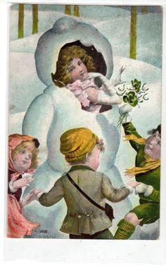 K106 Postcard Artist Designed Snowman With Girl Inside Children Dance ALL Around   eBay
