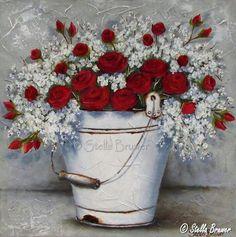Painting Protea Art, Texture Painting, Fabric Painting, Painting & Drawing, Decoupage Vintage, Beautiful Flower Arrangements, Beautiful Flowers, Stella Art, Garden Mural
