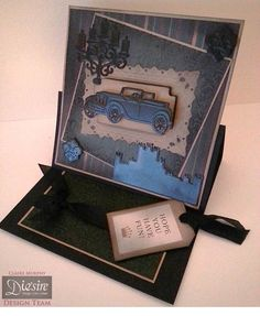 Claire Murphy - Downtown Abbey - Crafter's Companion - Folder: Fleur de Lys - Dies: Motor Vehicle, Downton Abbey Icons, Downton Abbey, Candelabra - Matt Black card - Kraft card - Papers and sentiment from Downton Abbey CD - Walnut Stain Distress Ink - Collall All Purpose and 3D Glue Gel - #crafterscompanion #DowntonAbbey