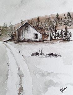 """""""Original Watercolor Painting- A Brown Landscape"""" original fine art by James Lagasse"""