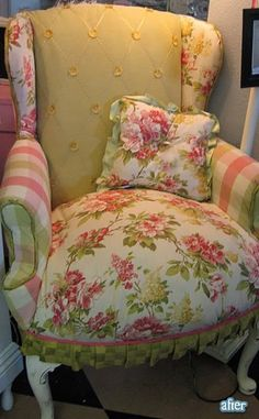 I need this chair!!!!  This was an old worn chair...refurbished with new upholstry...great idea and love the look of it.