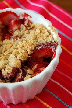 Strawberry Crisp....basic recipe; yummy flavor.  I used thawed, drained strawberries, and changed out the sugar and flour to honey and whole wheat.