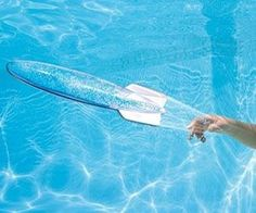 It'll become impossible to get your kids out of the water once you introduce them to the spinning torpedo pool toy. At 10 inches long, the torpedo features a clear aerodynamic frame that travels up to 40 feet underwater while creating a glittering effect when launched.