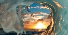Sunset through the Curl   Photography   Pinterest   Waves, Sunsets and Hawaii