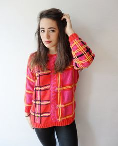 bright fuchsia pink geometric thick knit 70's by NorthStarrVintage, $30.00