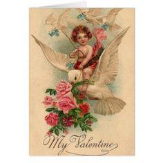 Vintage Cherub My Valentine Card - love cards couple card ideas diy cyo