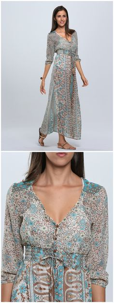 Clothink Women Multicolor Retro Floral V Neck 3/4 Sleeve Split Long Maxi Dress