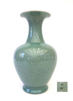 KOREAN green CELADON pottery VASE hand made - signed