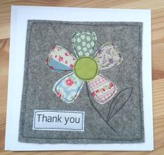 New patchwork colchas cuadros Ideas Fabric Cards, Fabric Postcards, Paper Cards, Embroidery Cards, Free Motion Embroidery, Handmade Thank You Cards, Handmade Birthday Cards, Teacher Thank You Cards, Freehand Machine Embroidery
