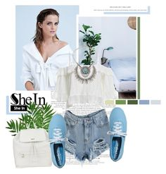 """Ripped Denim Shorts with SheIn"" by antemore-765 ❤ liked on Polyvore featuring Emma Watson, Keds, DKNY, Sole Society and Gianvito Rossi"