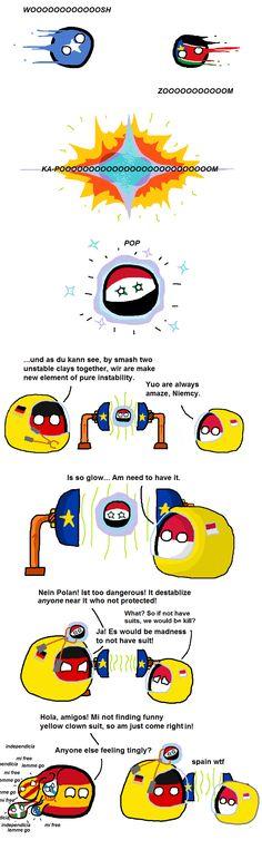 Particlay Collider (Somalia, South Sudan, Syria, Germany, Poland, Spain) by narnarjar  #polandball #countryball