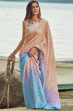 Details about  /Indian SkyBlue Gold Crush Dupion Border Bollywood Sari Art Silk Party Wear Saree
