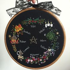 """Finished embroidered Pagan Year Wheel; depicting the 8 festivals of a pagan year. Set in an 8"""" wood effect flexi hoop. This will be for sale TOMORROW at 7PM (GMT) time. There is only one available so it'll be first come first serve. My apologies to anyone who wanted to buy it from the beginning. There's a lot of people interested in this piece and I wanted to be fair to everyone. • • • #pagan #paganyearwheel #wicca #witch #witchcraft #witchy #yule #samhain #mabon #lammas #midsummer #beltane…"""