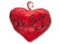 """Plüschherz-Kissen - """"Ich liebe Dich"""" zum Valentinstag"""