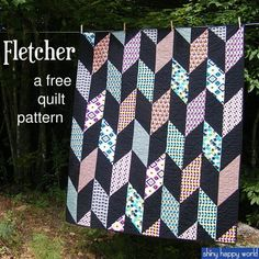 "Fletcher - a Free Chevron Quilt Pattern - Shiny Happy World (warning: ""free"" IF you subscribe to her mailing list *grrrrrr*)"