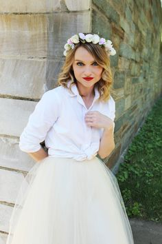Mix things up with your classic white-button down by adding a tulle skirt and a flower crown like Poor Little It Girl | #SouthernStyle #DC #SouthernFashionBlogger | SouthernLiving.com