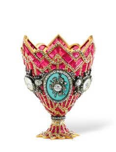 19th century zarf composed of rubies, offset by large diamonds and military trophies topped by the Turkish crescent. (A zarf is a highly ornamental stand for coffee cups – and an integral part of Turkish coffee-drinking rituals dating to the 13th century.)