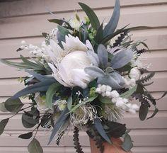 Protea Bouquet, Silk Flower Bouquets, White Wedding Bouquets, Flower Bouquet Wedding, Bridesmaid Bouquet, Wedding Bridesmaids, Wedding Dresses, Faux Flowers, Silk Flowers