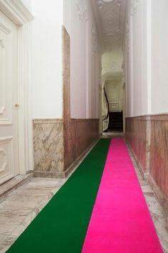 colorblock rug runner for an old school hallway