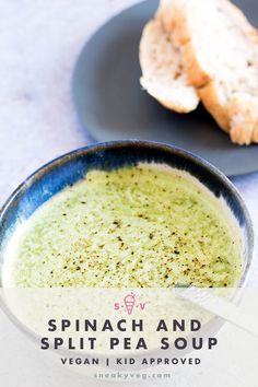This vibrant green spinach and split pea soup is healthy, filling and tasty. Flavoured with caraway seeds it's perfect eaten for lunch with a slice of crusty bread. Vegan, vegetarian and gluten free. #vegansoup #splitpeasoup #spinachsoup #veganlunch #soup #vegan #vegetarian No Dairy Recipes, Gf Recipes, Raw Food Recipes, Veggie Recipes, Soup Recipes, Dinner Recipes, Healthy Recipes, Hidden Vegetable Recipes, Hidden Vegetables