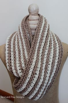 Striped Oversized Crochet Scarf :: Rescued Paw Designs