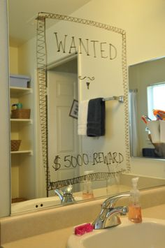 """Western/Cowboy Theme Baby Shower-- Bathroom Mirror """"Wanted"""" Poster"""