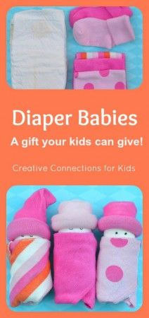 Diaper babies made from a diaper, baby washcloth, and baby socks. Cute baby shower gift.