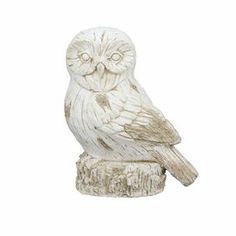 "Add a touch of natural appeal to your decor with this charming owl statuette, a whimsical accent for your mantelpiece or entryway console table.  Product: Owl statuetteConstruction Material: ResinColor: WhiteDimensions: 16"" H x 13"" W x 8.5"" D"