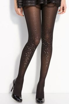 These sparkly tights are the perfect addition to any holiday party outfit. We vote that you wear them everyday to add an extra bit of holiday cheer! | Mary Kay