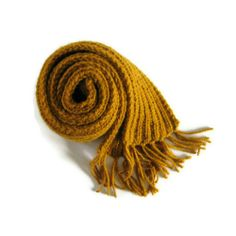 Yellow Chunky Scarf with Fringes Hand Knitted | knitBrandashop - Scarves and Accessories