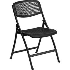 Polypropylene Folding Chair- Comfort Molded. Availability: In Stock. Minimum order of 25. This polypropylene folding chair is an affordable option for weddings and events. Polypropylene Seat and Back. Indoor and Outdoor Use. Ergonomically Contoured Design. Conforms to Body Shape with an Extra Wide Seat. Breathable Perforated Seat and Back Black Powder Coat Frame Finish. High Impact Grade Construction.