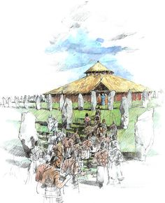 Ceremonial procession at the Avebury Stone Circle shrine during the 3rd Millennium BCE by Ivan Lapper